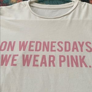 "Brandy Melville Tops - ""We wear pink on Wednesday"" white short sleeve"